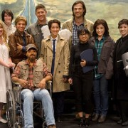 "Supernatural -- ""Fan Fiction"" -- Image SN1005d_0274 -- Pictured (back row center L-R): Jensen Ackles as Dean and Jared Padalecki as Sam surrounded by cast of Supernatural: The Musical!"" -- Credit: Diyah Pera/The CW --  © 2014 The CW Network, LLC. All Rights Reserved"