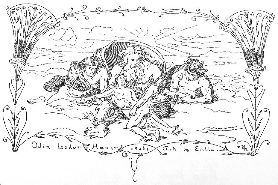 Odin,_Lodur,_Hoenir_skabe_Ask_og_Embla_by_Frølich