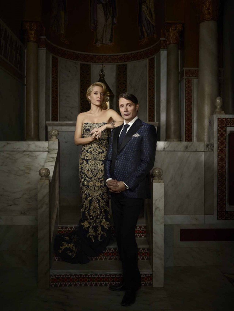 HANNIBAL -- Season: 3 -- Pictured: (l-r) Gillian Anderson as Bedelia Du Maurier, Mads Mikkelsen as Hannibal Lecter -- (Photo by: Elisabeth Caren/NBC)