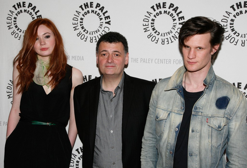 "NEW YORK - APRIL 12: (L-R) Actress Karen Gillan, executive producer Steven Moffat and actor Matt Smith attend the ""Who's Next? The New Era of Doctor Who"" screening at the Paley Center For Media on April 12, 2010 in New York City.  (Photo by Amy Sussman/Getty Images)"