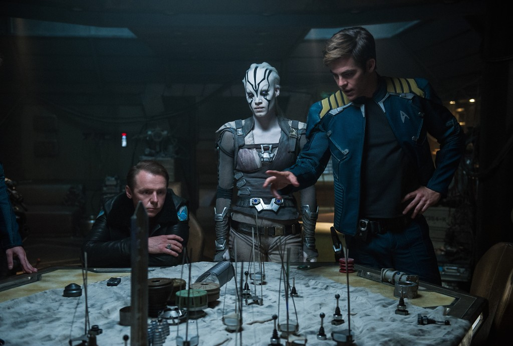 Left to right: Simon Pegg plays Scotty, Sofia Boutella plays Jaylah and Chris Pine plays Kirk in Star Trek Beyond from Paramount Pictures, Skydance, Bad Robot, Sneaky Shark and Perfect Storm Entertainment