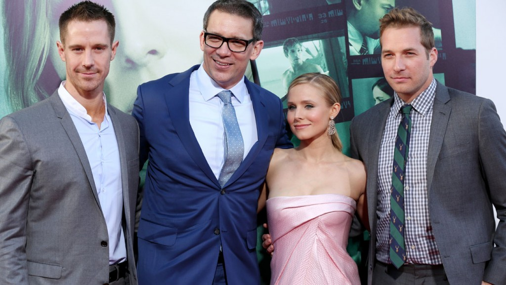 """From left, Jason Dohring, writer/producer/director Rob Thomas, Kristen Bell and Ryan Hansen arrive at the LA Premiere of """"Veronica Mars"""" on Wednesday, March 12, 2014, in Los Angeles. (Photo by Matt Sayles/Invision/AP)"""
