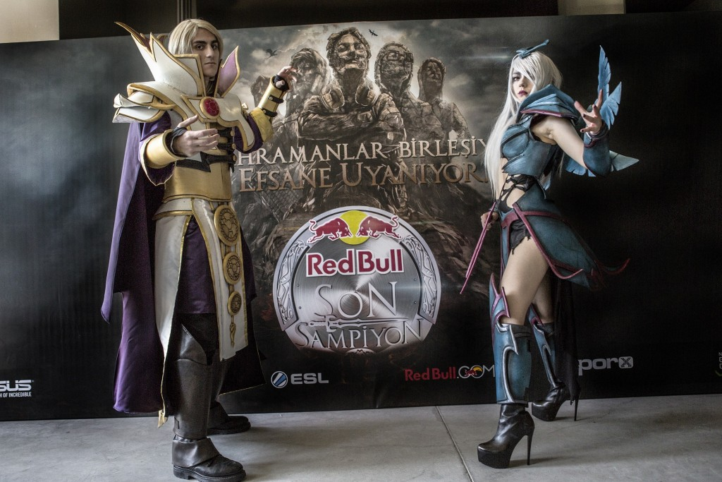 Cosplay characters pose during the Red Bull Son Sampiyon in Istanbul, Turkey on 14th June 2015.