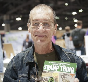 Artist Bernie Wrightson poses with creation Swamp Thing at LBCHC in Long Beach CA November 3rd 2012