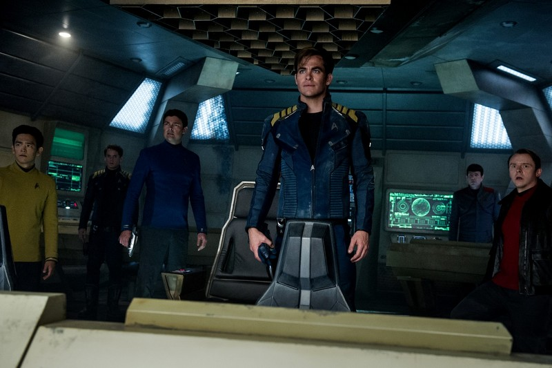 Left to right: John Cho plays Sulu, Anton Yelchin plays Chekov, Karl Urban plays Bones, Chris Pine plays Kirk, Zachary Quinto plays Spock and Simon Pegg plays Scotty in Star Trek Beyond from Paramount Pictures, Skydance, Bad Robot, Sneaky Shark and Perfect Storm Entertainment